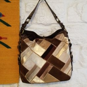 Coach 10974 Chelsea Suede Patchwork Large Hobo Bag